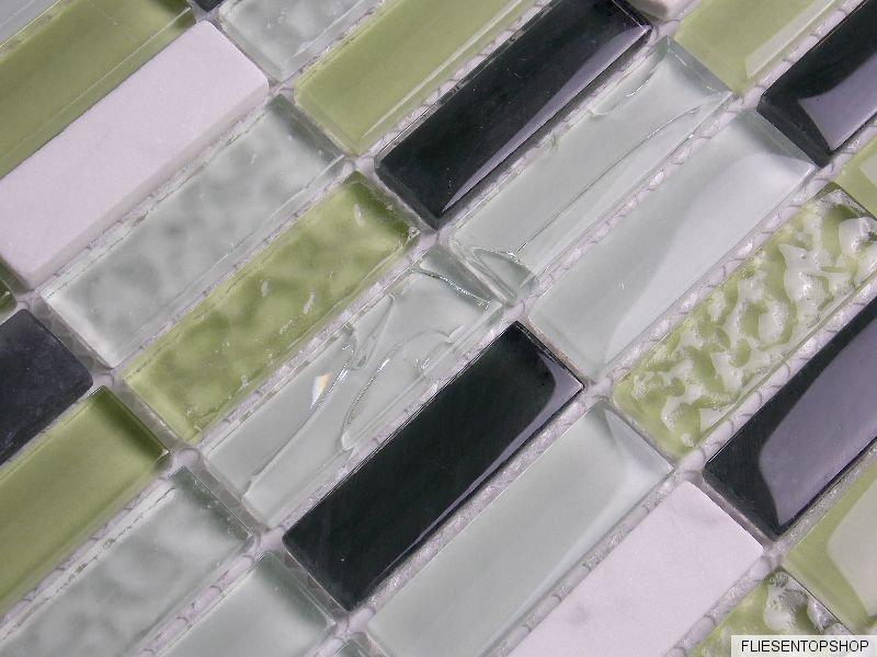 naturstein marmor glas mosaik fliesen crush gr n weiss schwarz klarglas suf4882 kaufen bei. Black Bedroom Furniture Sets. Home Design Ideas