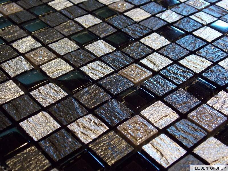 schiefer effekt mosaik fliesen glas naturstein silber schwarz anthrazit fdur1505. Black Bedroom Furniture Sets. Home Design Ideas