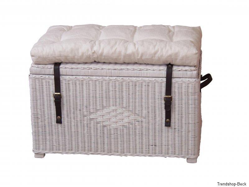 sitztruhe inkl kissen rattan truhe sitzbank w schetruhe korb hocker bank ebay. Black Bedroom Furniture Sets. Home Design Ideas