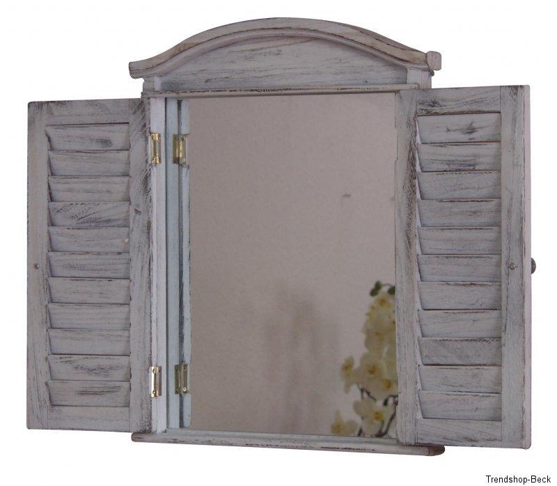wandspiegel mit klappt ren used look braun wei holz fensterspiegel spiegel ebay. Black Bedroom Furniture Sets. Home Design Ideas