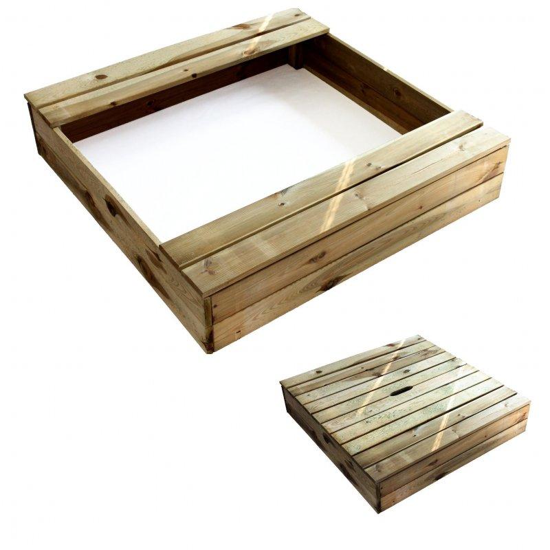 sandkasten 100x100 cm mit deckel sitzfl che 1m x 1m sandkiste holz impr gniert ebay. Black Bedroom Furniture Sets. Home Design Ideas
