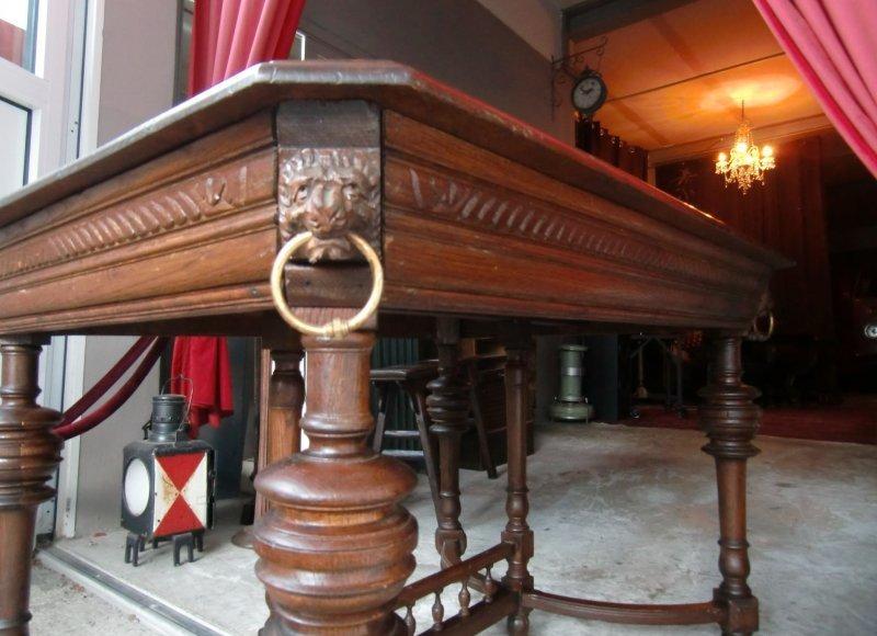 antiker esstisch gr nderzeit eiche massiv l wenk pfe ebay. Black Bedroom Furniture Sets. Home Design Ideas