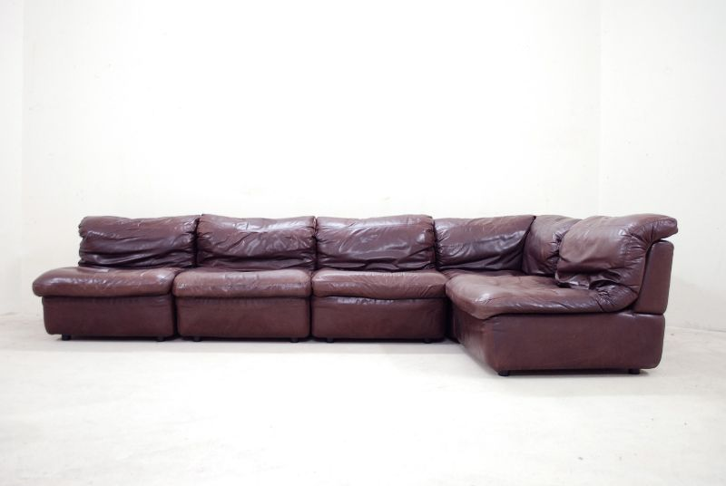 rolf benz vintage modul wohnlandschaft sofa ledersofa bordeaux ebay. Black Bedroom Furniture Sets. Home Design Ideas