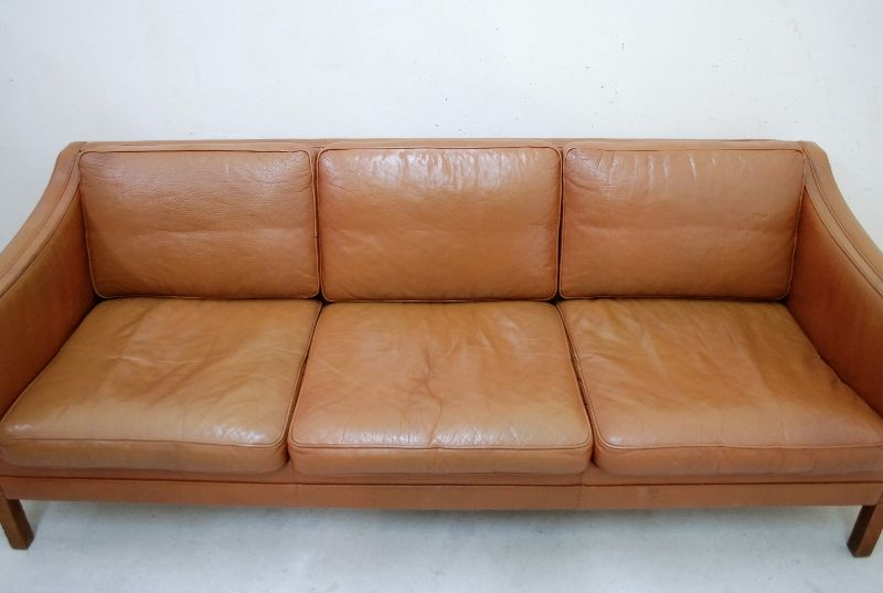 danish modern vintage cognac ledersofa sessel mogensen ra ebay. Black Bedroom Furniture Sets. Home Design Ideas