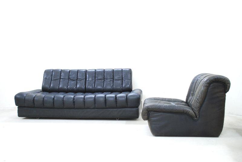 de sede ds 85 vintage daybed sofa ledersofa schlafsofa black ebay. Black Bedroom Furniture Sets. Home Design Ideas