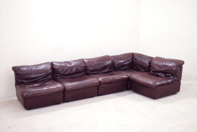 rolf benz vintage modul wohnlandschaft sofa ledersofa bordeaux ebay. Black Bedroom Furniture Sets. Home Design Ideas