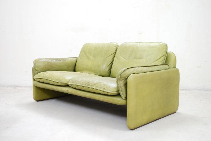 de sede ds 61 sofa 2er vintage ledersofa lemon green sofa. Black Bedroom Furniture Sets. Home Design Ideas