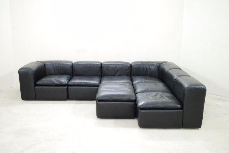 wk wohnen ledersofa kubus wk 550 wohnlandschaft dettinger modul 70er vintage ebay. Black Bedroom Furniture Sets. Home Design Ideas