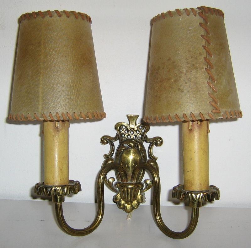 50er j wandlampe lampe leuchte zweiflammig schweinsblase messing jugendstil rar ebay. Black Bedroom Furniture Sets. Home Design Ideas