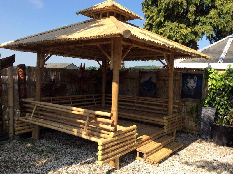 pavillon bambus gazebo gartenhaus teich bamboo original bambushaus ebay. Black Bedroom Furniture Sets. Home Design Ideas