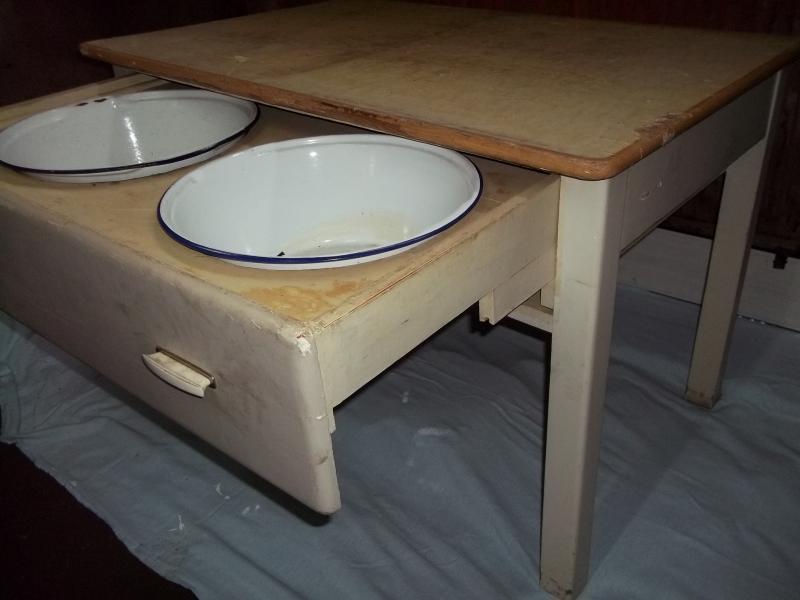 alter abwaschtisch tisch k chentisch esstisch arbeitstisch. Black Bedroom Furniture Sets. Home Design Ideas