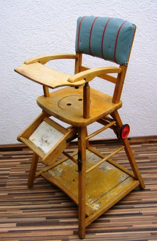 Ancienne chaise haute de b b d 39 enfants bois enfants - Chaise bebe a fixer sur la table ...