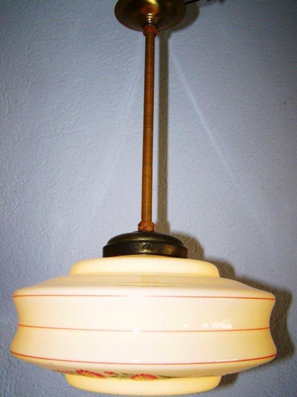antique lampe suspension de 30 ann es 1940 ann es lampe d cor floral art d co ebay. Black Bedroom Furniture Sets. Home Design Ideas