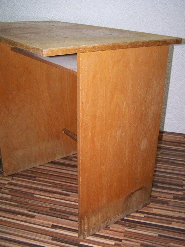 Beau vieux Bureau avec Armoire à roulettes, Bois Table de travail Art  ~ Vieux Bureau Bois
