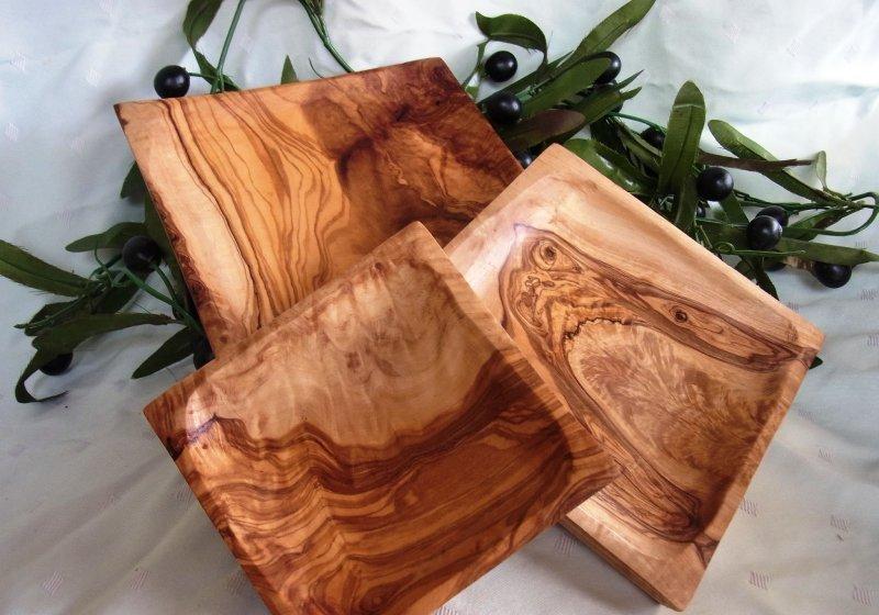 olivenholz 3 teiliges schalen set viereckig oliven l baum holz. Black Bedroom Furniture Sets. Home Design Ideas