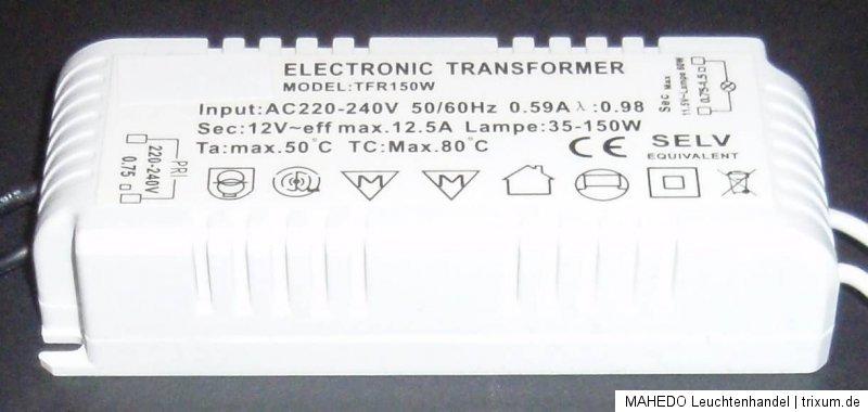 selv elektronischer transformator halogentrafo mini trafo halogen 150w 12v 12 5a ebay. Black Bedroom Furniture Sets. Home Design Ideas