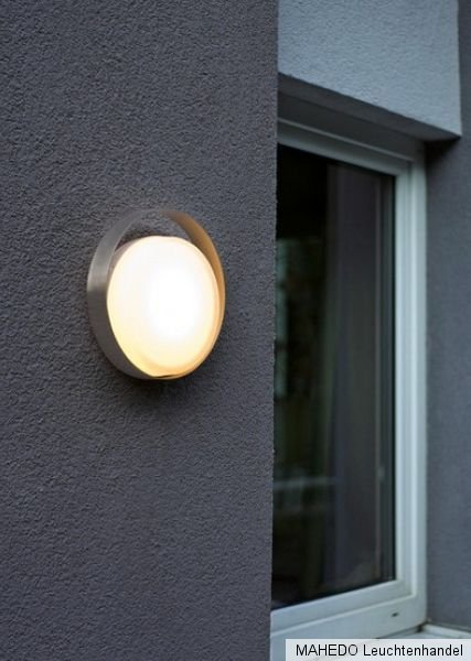 led design au en au enleuchte au enlampe wandlampe avellino edelstahl glas rund ebay. Black Bedroom Furniture Sets. Home Design Ideas