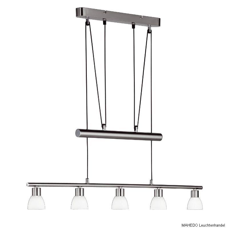 h ngelampe pendelleuchte pendellampe esstischlampe wofi bram 5x led nickel glas ebay. Black Bedroom Furniture Sets. Home Design Ideas