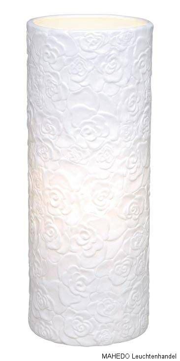 tischleuchte tischlampe nachtischlampe lampe eglo damasco e27 wei rosen keramik ebay. Black Bedroom Furniture Sets. Home Design Ideas