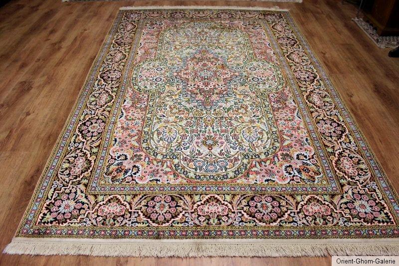 Seidenteppich  Perser/Orient Teppich Seidenteppich Blumen Kaschmir Seide 280 x ...