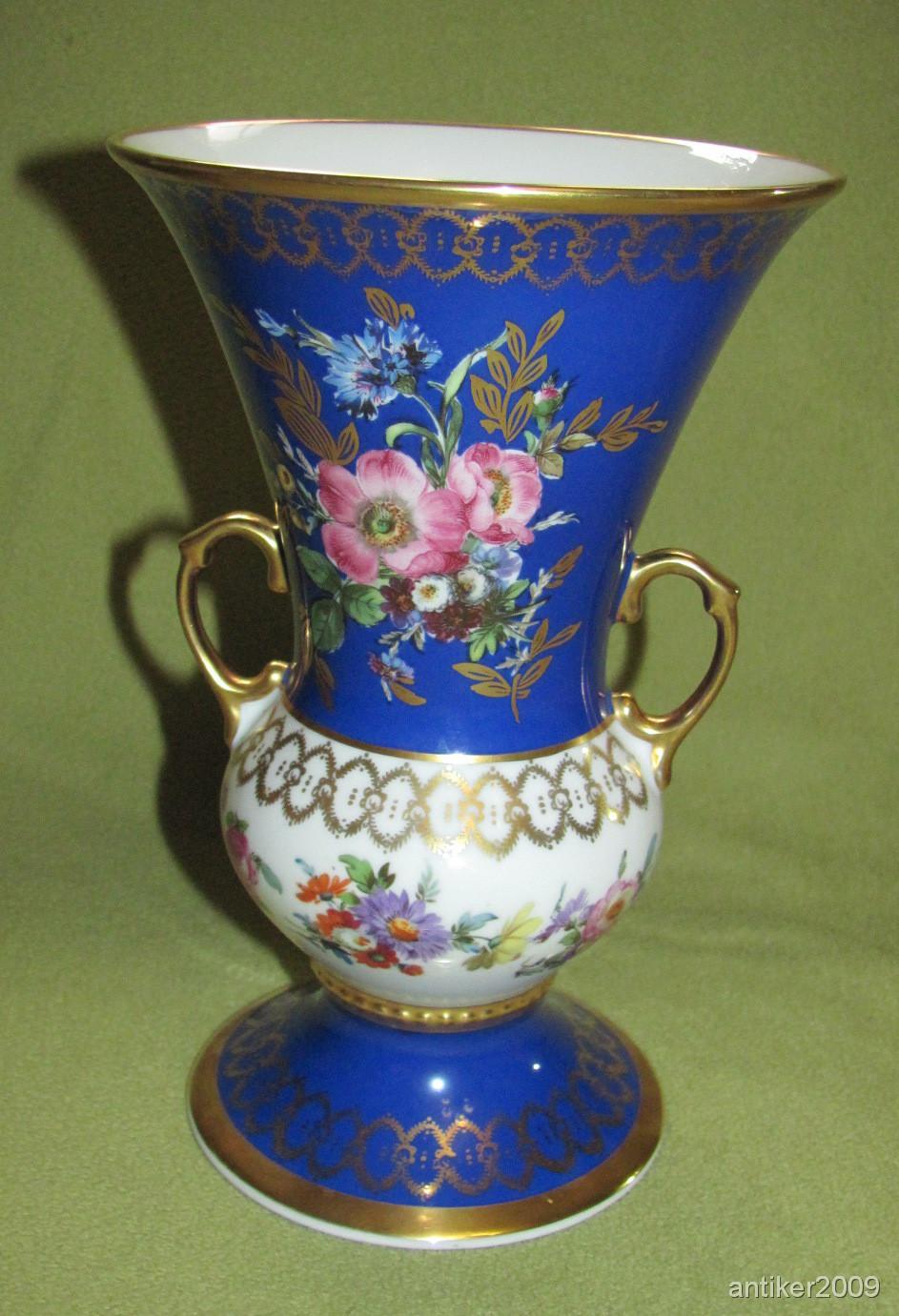 rw bavaria porzellan vase blau gold blumendekor ebay. Black Bedroom Furniture Sets. Home Design Ideas