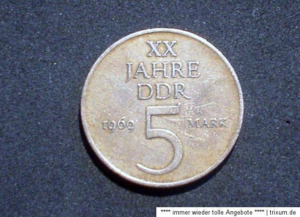 Ddr 5 Mark Münze Xx 20 Jahre Ddr 1969 Ss Bis Vz Erhalten 3003