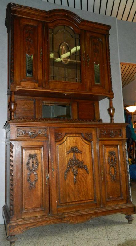 bufett schrank 2 teilig jugendstil spiegel facetiert h he ca 230 cm ebay. Black Bedroom Furniture Sets. Home Design Ideas