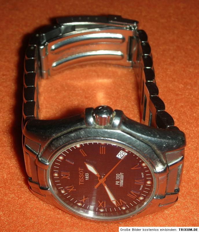 tissot 1853 pr 100 herren armbanduhr mit safirglas. Black Bedroom Furniture Sets. Home Design Ideas
