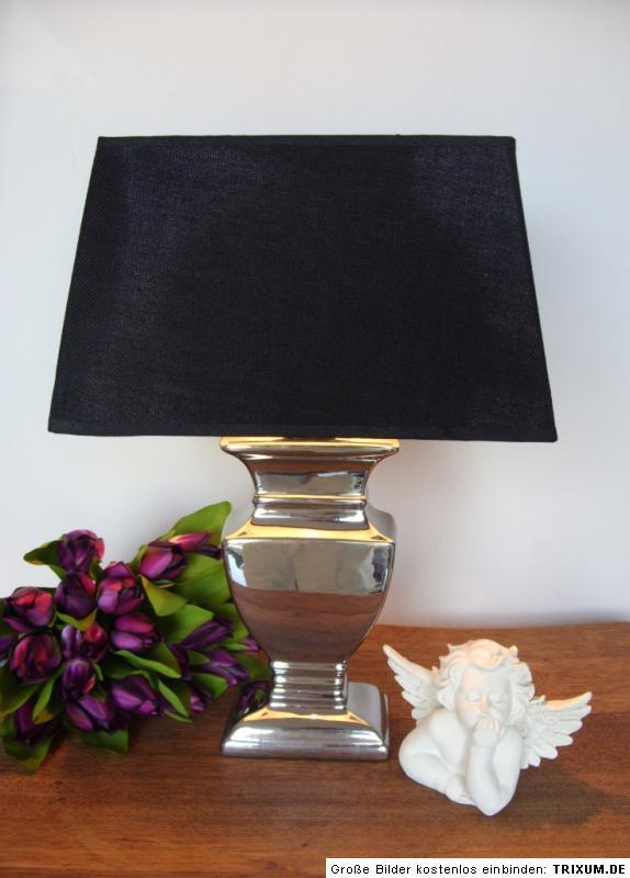 tischleuchte tisch lampe leuchte neu silber schwarz shabby landhaus vintage ebay. Black Bedroom Furniture Sets. Home Design Ideas