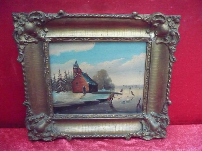 2 antike gem lde belebte winterlandschaft und sommerlandschaft holland ebay. Black Bedroom Furniture Sets. Home Design Ideas