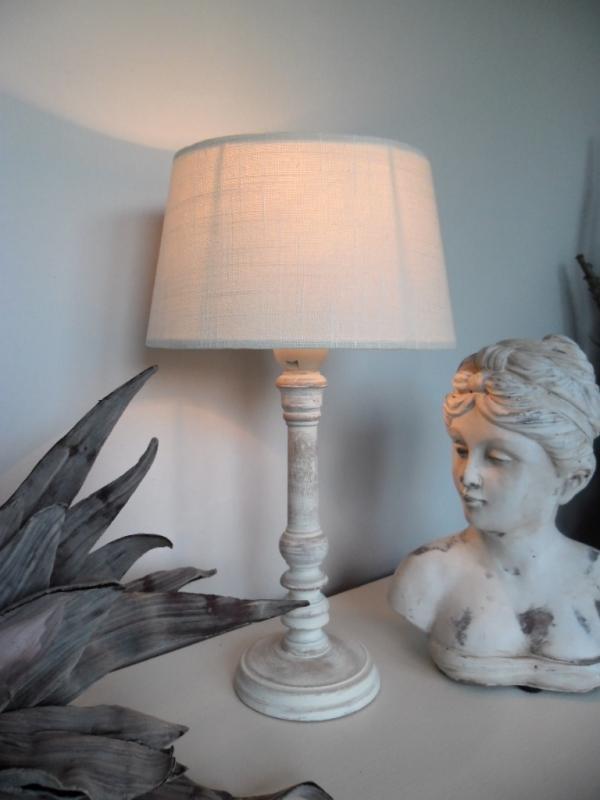 tischleuchte tisch lampe holz 36 cm creme landhaus shabby. Black Bedroom Furniture Sets. Home Design Ideas