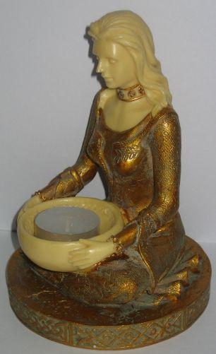 Teelichthalter Meditation Kerzenhalter Frau mit Schale Jugendstil Stil 17x12cm