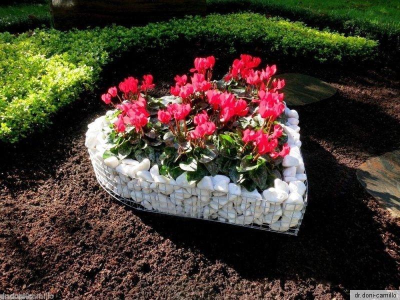 Herz 35x35x6cm mit Kies  Grabherz Pflanzenschale Grabschmuck  Blumentöpfe