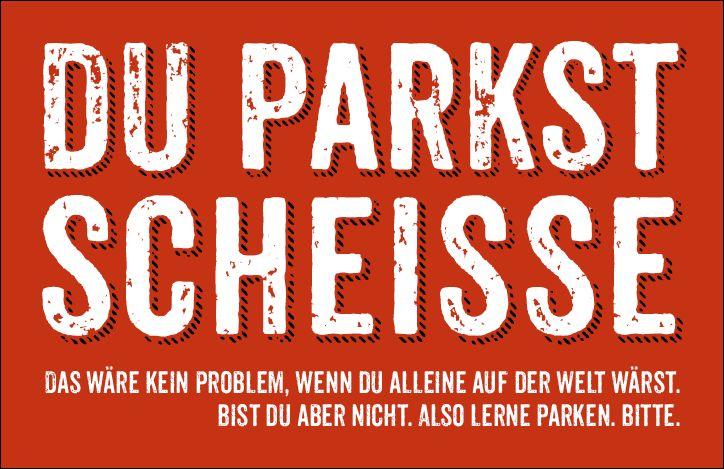 10 DU PARKST SCHEISSE Karten gegen Falschparker 2fach Parkplatzbenutzer