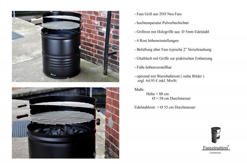 grill fassgrill 200 liter neu fass holzkohlegrill bbq edelstahl rost schwarz ebay. Black Bedroom Furniture Sets. Home Design Ideas