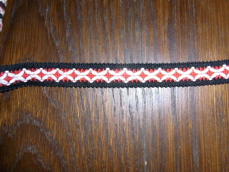 3cm 25m auf einer Pappe OPEW 0,60€//m creme rot braun Borte Höhe ca