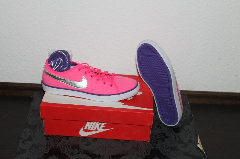 Details zu Nike Primo Court Canvas Damen Schuh Weiß Pink alle Größen Neu mit Karton