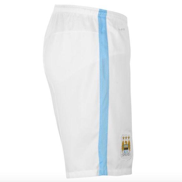 922cd09cbba5 Detalles de Nike Manchester City Heim Home Pantalón Corto 2015 2016 Blanco  Azul Todas Tallas