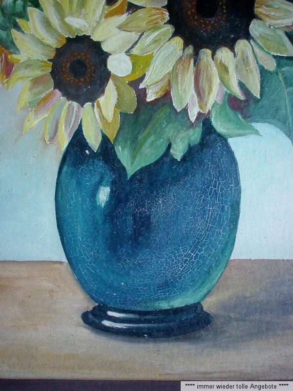 herrliche sonnenblumen in blauer vase lgem lde auf malpappe unsigniert ebay. Black Bedroom Furniture Sets. Home Design Ideas