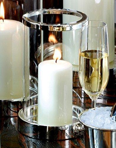 Windlicht Mit Glaszylinder Kerze Versilbert