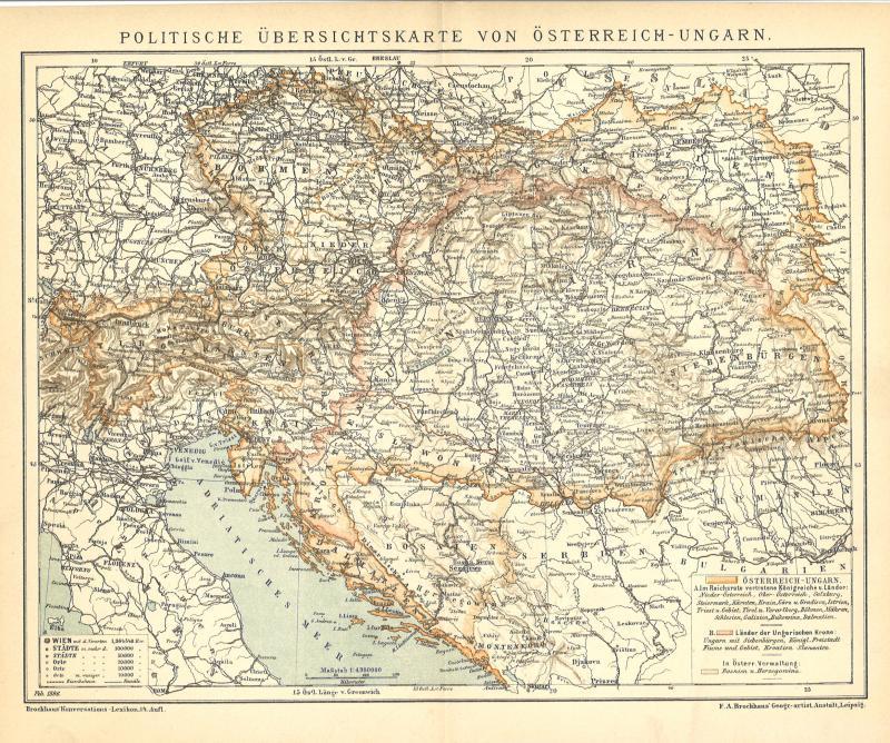 B14 Politische Übersichtskarte von Europa Alte Landkarte 1898 Politik