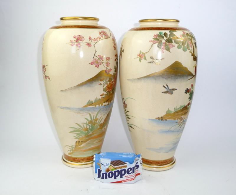 zwei gro e satsuma vasen japan um 1920 bodenvase vase ebay. Black Bedroom Furniture Sets. Home Design Ideas